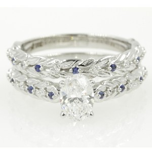 14k White Gold Gia Certified 1.11 Ct Oval Shape Leaf Design Set Engagement Ring