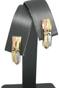other 14K Tri-Color Gold Diamond Cut Clip Back Earrings