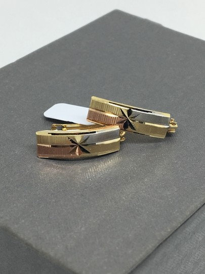 other 14K Tri-Color Gold Diamond Cut Clip Back Earrings Image 1