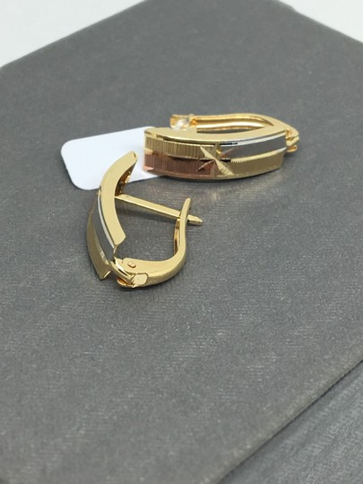 other 14K Tri-Color Gold Diamond Cut Clip Back Earrings Image 2