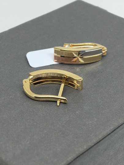 other 14K Tri-Color Gold Diamond Cut Clip Back Earrings Image 3