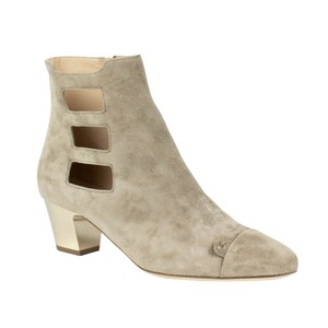 Chanel Suede Cut-out Cap Toe Beige Boots