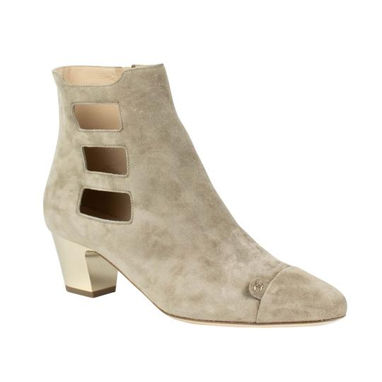 Chanel Suede Cut-out Cap Toe Beige Boots Image 0