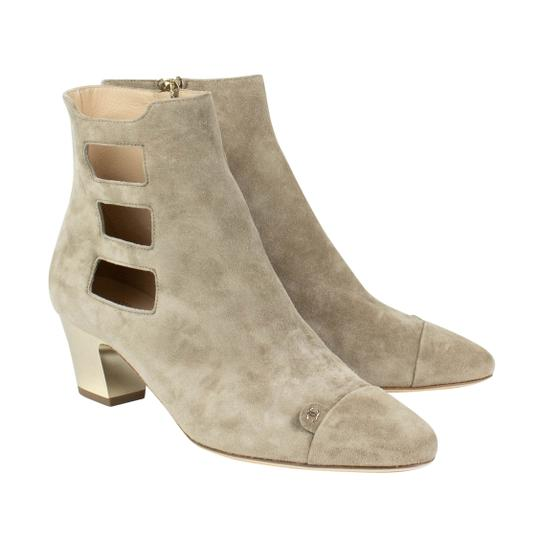 Chanel Suede Cut-out Cap Toe Beige Boots Image 1