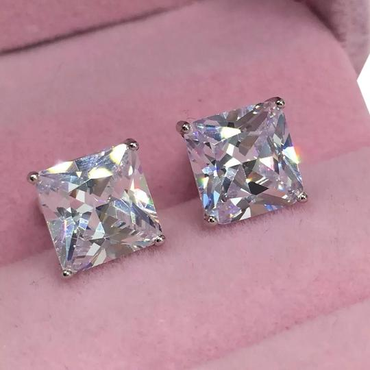 Eve St. Claire 14k white gold diamond 3 ct princess stud earrings Image 0