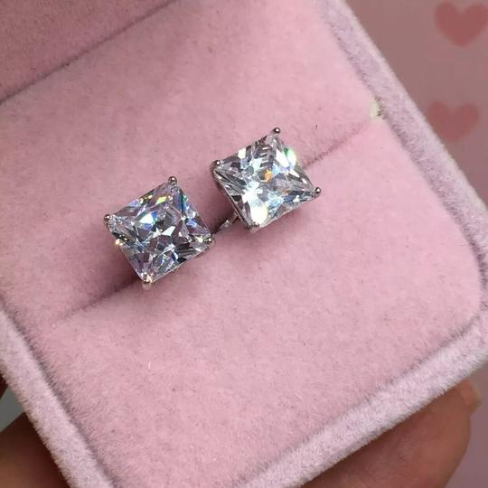 Eve St. Claire 14k white gold diamond 3 ct princess stud earrings Image 1