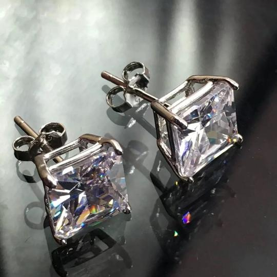 Eve St. Claire 14k white gold diamond 3 ct princess stud earrings Image 2