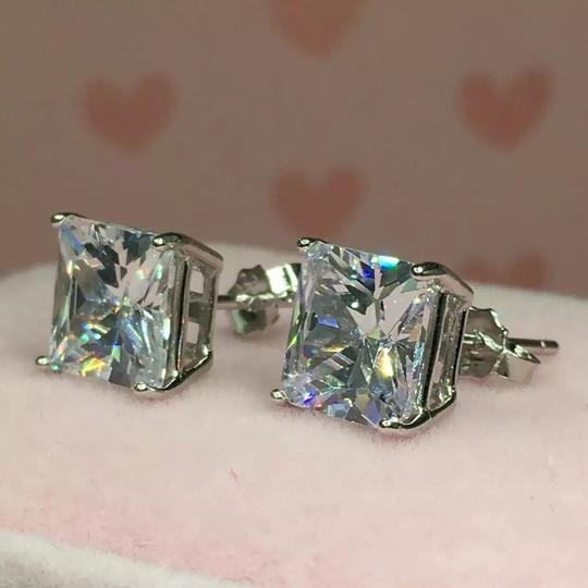 Eve St. Claire 14k white gold diamond 3 ct princess stud earrings Image 3