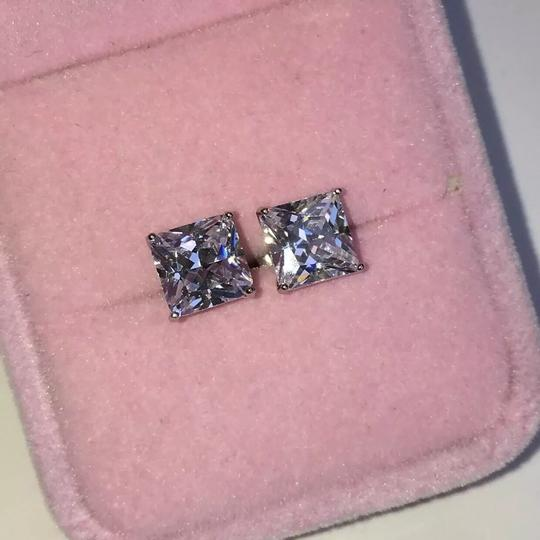 Eve St. Claire 14k white gold diamond 3 ct princess stud earrings Image 4