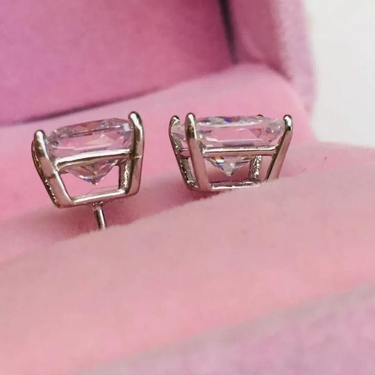 Eve St. Claire 14k white gold diamond 3 ct princess stud earrings Image 5