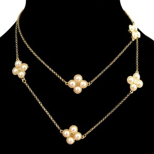 Tory Burch Brand New Tory Burch Rope Clover Swarovski Pearl Rosary Necklace