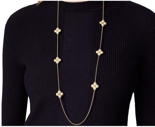Tory Burch Brand New Tory Burch Rope Clover Swarovski Pearl Rosary Necklace Image 4
