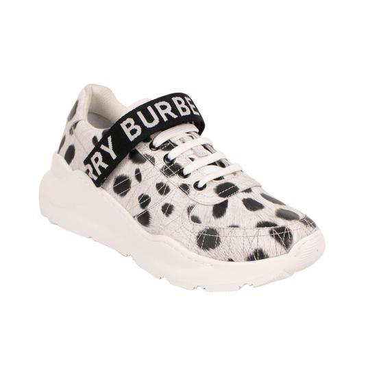 Burberry Leather Laces Chunky Animal Print Velcro White Athletic Image 1