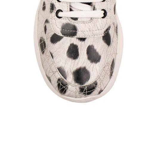 Burberry Leather Laces Chunky Animal Print Velcro White Athletic Image 3
