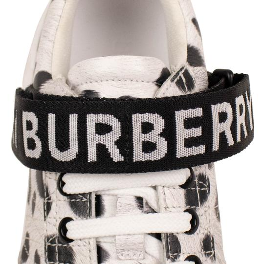 Burberry Leather Laces Chunky Animal Print Velcro White Athletic Image 5