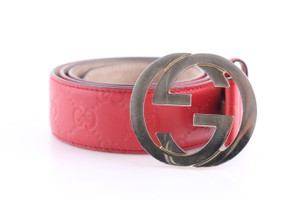 Gucci Gucci Red Signature G Buckle Belt