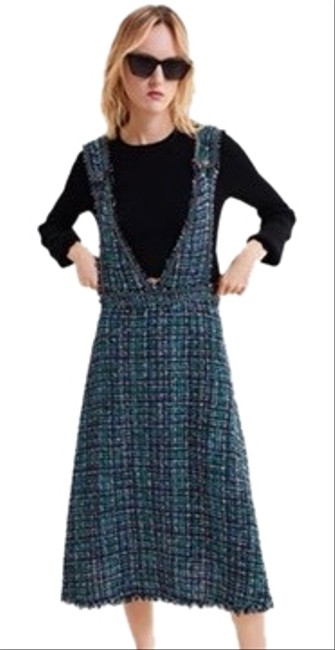Item - Black Mint and Pink Tweed Overall Skirt Midi Mid-length Casual Maxi Dress Size 12 (L)