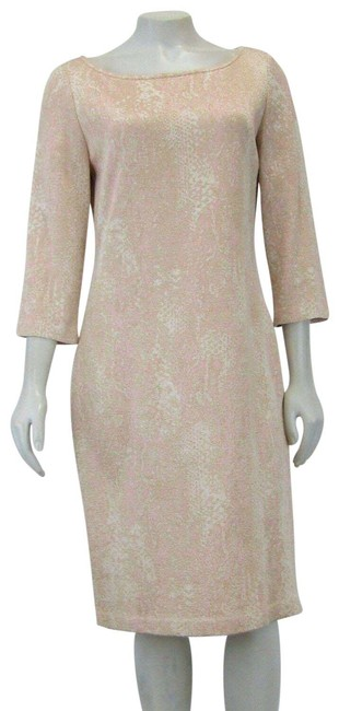 Item - Rose Gold New Knits Scoop Neckline 3/4 Sleeve Us Mid-length Formal Dress Size 8 (M)
