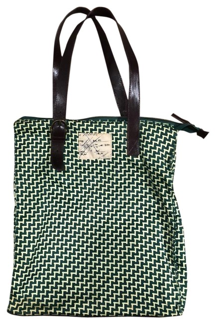Item - Shoulder Bag Moulinette Souers Chevron Green Rayon Tote