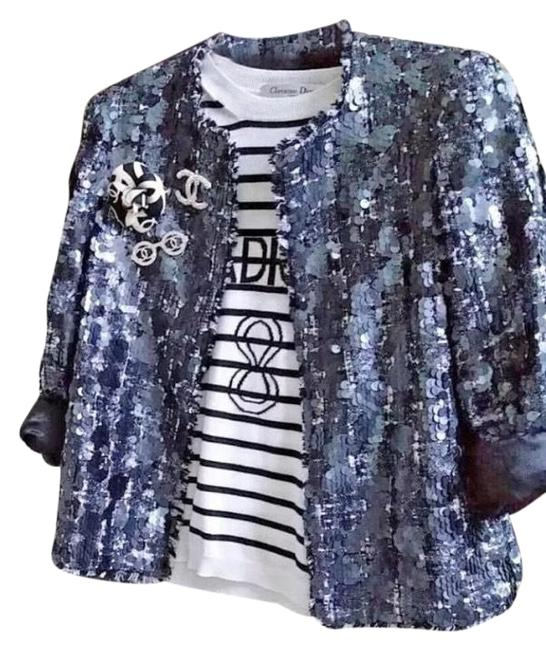 Item - Blue/Grey Sequin Tweed Jacket Blazer Size 4 (S)