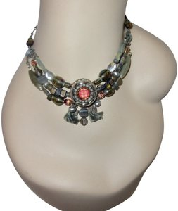 Ayala Bar Neutral Red Gray Multicolor Statement Chunky Signed Necklace
