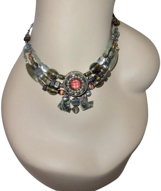 Item - Multicolor Neutral Red Statement Chunky Signed Necklace