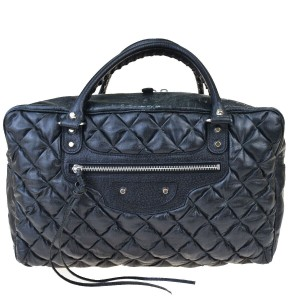 Balenciaga Quilted Chain Leather Matelasse Tote in Black