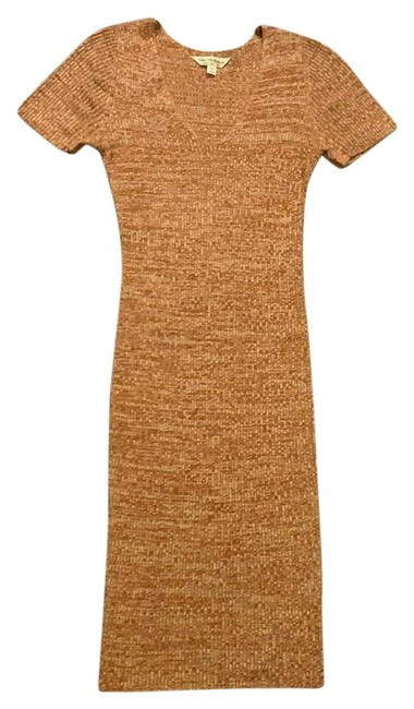 Item - Mustard and Cream Midi Sweater Mid-length Short Casual Dress Size 6 (S)