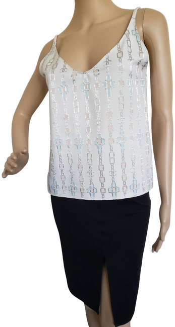 Chanel Silver Ivory Multicolor Interlocking Cc Metallic Sleeveless Blouse Size 6 (S) Chanel Silver Ivory Multicolor Interlocking Cc Metallic Sleeveless Blouse Size 6 (S) Image 1