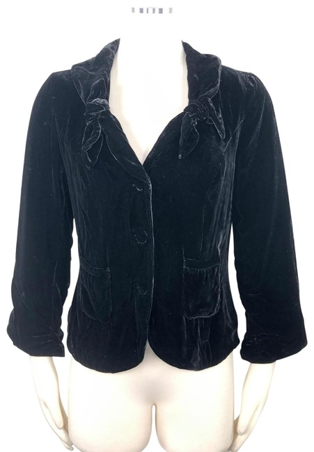 Item - Black Odille Velvet 3/4 Ruched Sleeves Crop Bow Collar Detail 0p Blazer Size Petite 0 (XXS)