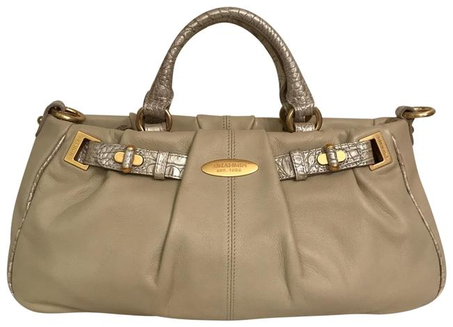 Item - Rare Smooth Beige Silver Gold Leather Satchel