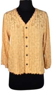 CP Shades Rayon 3/4 Sleeve Trim Accents Button Down Shirt