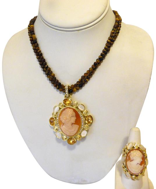 "Item - Goldtone Nyc Cameo ""Modica' and Ring 8 Set Necklace"