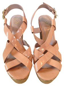 Vince Camuto Patent Leather Hattie Nude Wedges
