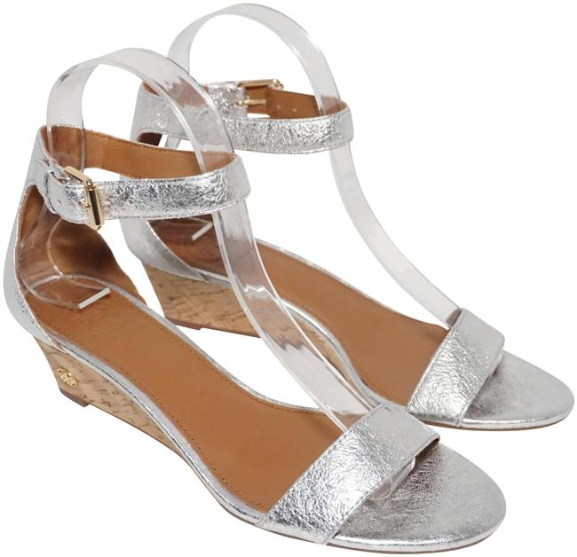 Item - Silver Savannah 45mm Sandal Ankle Strap Metallic Wedges Size US 6 Regular (M, B)