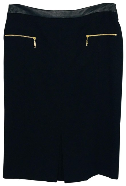 Item - Black with Gold Accents Wool Pencil Skirt Size 8 (M, 29, 30)