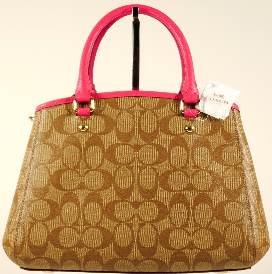 5d7e6230f Coach Margot Signature Mini Carryall F34605: Msrp Khaki Saddle Hot Pink  Coated Canvas and Leather Tote