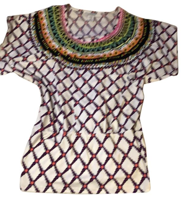Item - White Hot Pink Purple Yellow Green Orange and Black Cover-up/Sarong Size 0 (XS)