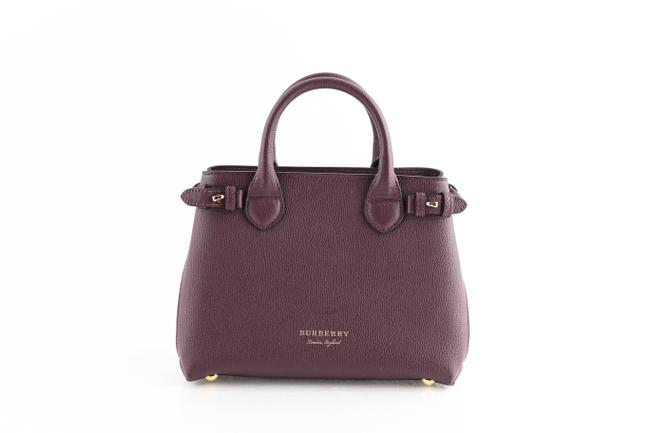 Item - Burgundy Small Banner In and House Check Purple Leather Tote