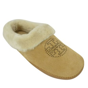 Tory Burch Coley Slippers Suede Perforated Royal Tan Sandals