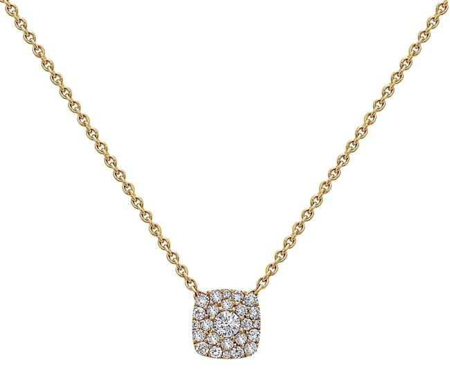 Yellow Gold 18k Small Square Women's with 0.27 Ct Diamonds Necklace Yellow Gold 18k Small Square Women's with 0.27 Ct Diamonds Necklace Image 1