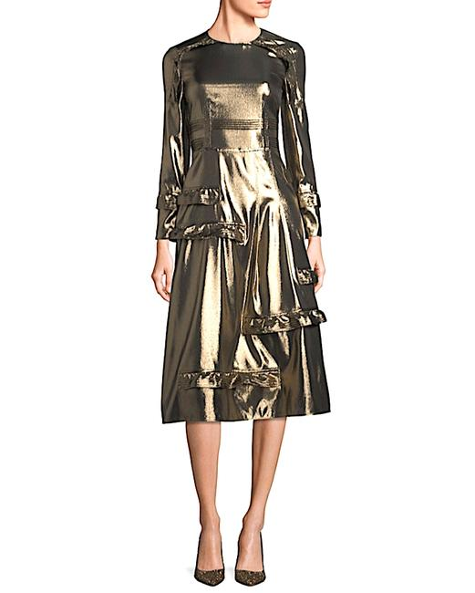 Item - Gold with Tag Women's Metallic Ruffle-trimmed Mid-length Cocktail Dress Size 6 (S)