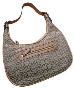 Coach Gold Canvas Leather Zipper Hobo Bag