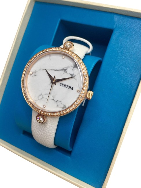 Item - New Rose Gold and White Marble Frances Dial Leather-band Watch