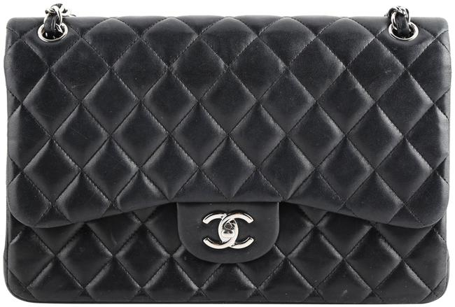 Chanel Double Flap Quilted Jumbo Black Lambskin Leather Shoulder Bag Chanel Double Flap Quilted Jumbo Black Lambskin Leather Shoulder Bag Image 1