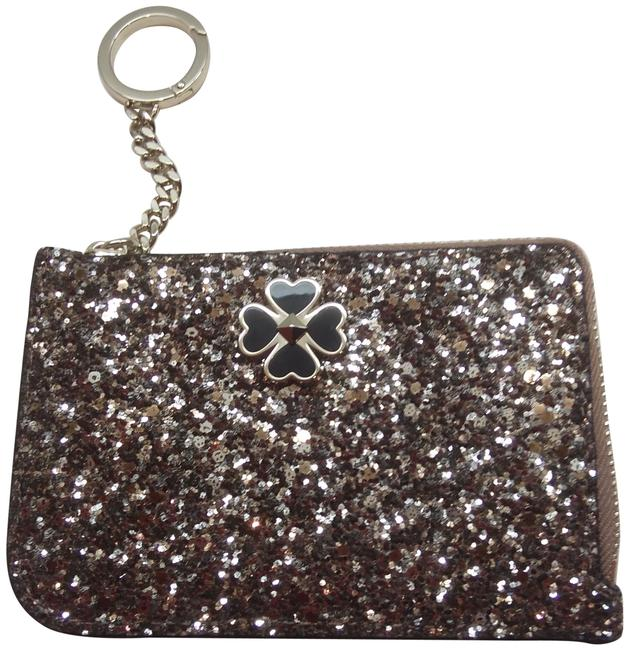 Item - Silver New Sparkly Zip Card Case Key Fob Wallet