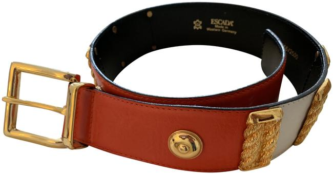 Item - Red and White Leather Waist with Gold-tone Accents Buckle Closure Belt