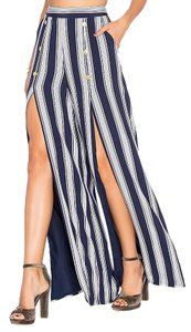 Lovers + Friends Wide Leg Pants navy/ white
