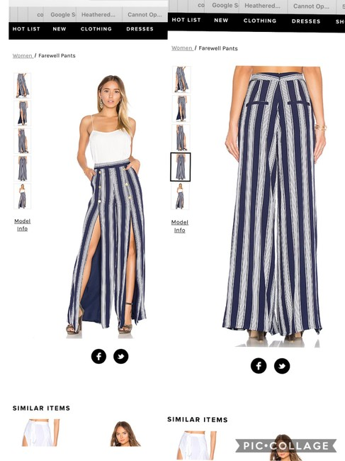 Lovers + Friends Wide Leg Pants navy/ white Image 3