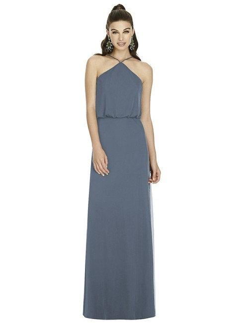 Item - Dusty Blue Knit Chiffon D738 Modern Bridesmaid/Mob Dress Size 12 (L)